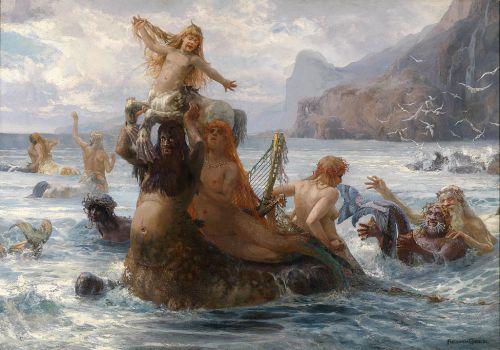 Centaurs and Mermaids by Ernst Albert Fischer (Nixen und Kentauren Beim Bade)