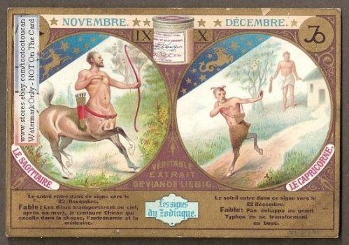 centaur zodiac card 1897