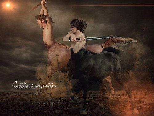 centaurs in action by sprsprs digital art