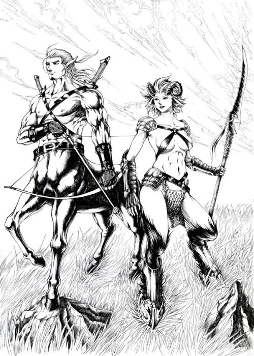 centaur and satyress: warriors of the field by hungdk