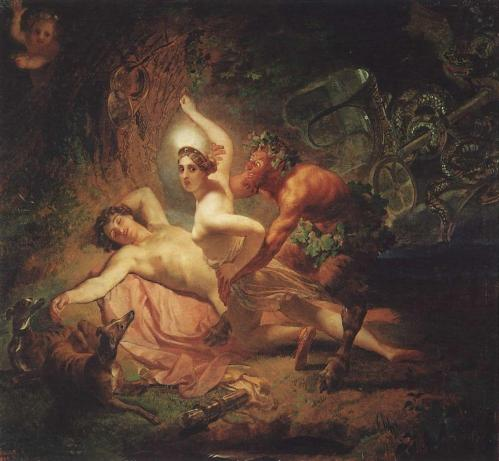 Diana, Endymion Sprised by The Satyr by Karl Bryullov, 1849
