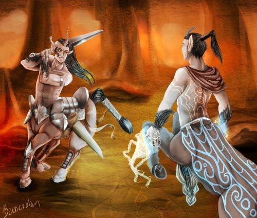 Centaur Duel by Beincraban