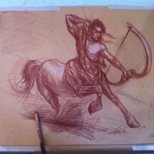 Chalk Art Centaur by Max Wildchild
