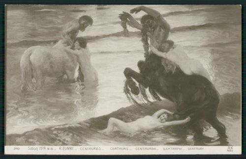 Centaurs Swimming With Nymphs (Salon de Paris postcard c1910s