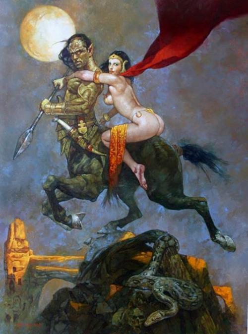 Centaur Warrior Carrying Moon Maiden by Scapiador (After Frank Frazetta)